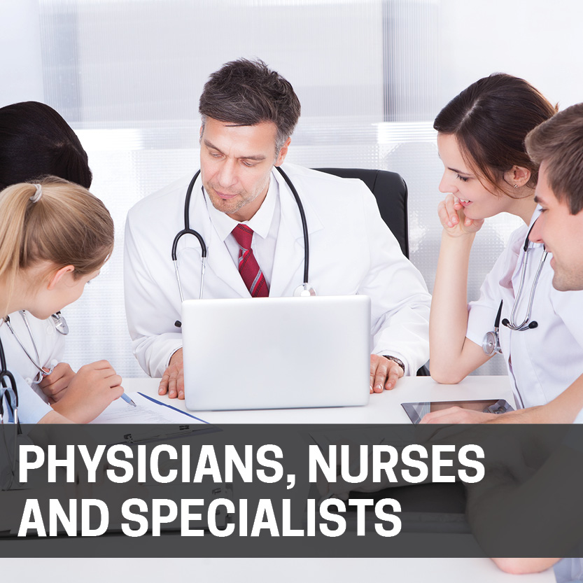 Doctors, nurses and specialists