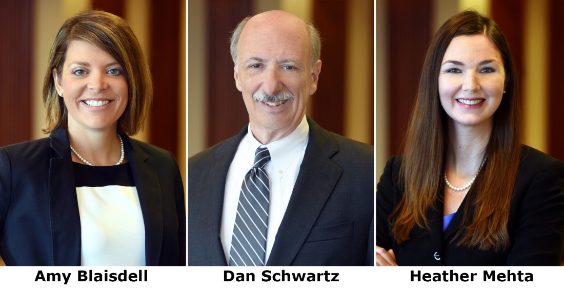 Headshots of Greensfelder's Amy Blaisdell, Daniel Schwartz and Heather Mehta