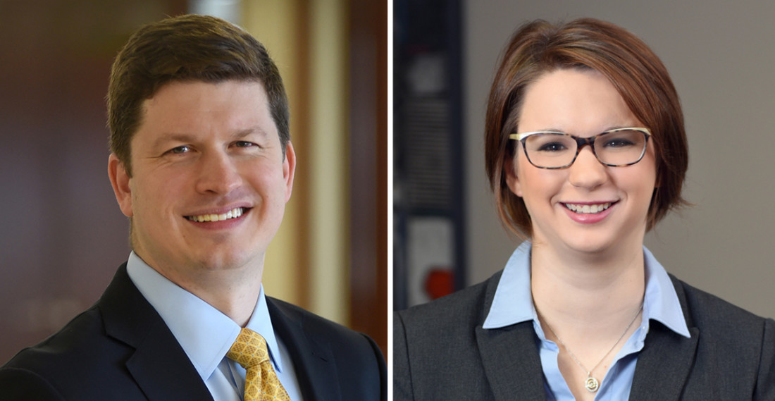 Headshot of attorneys Andrew Hartnett and Kara Krawzik