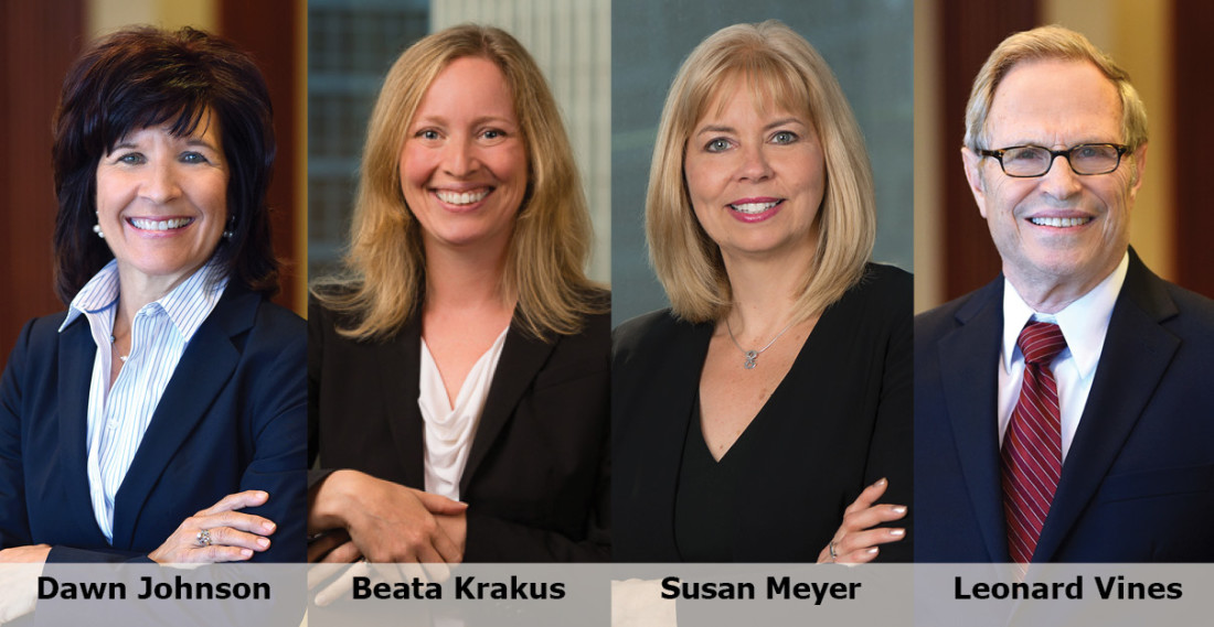 Headshots of Dawn Johnson, Beata Krakus, Susan Meyer and Leonard Vines