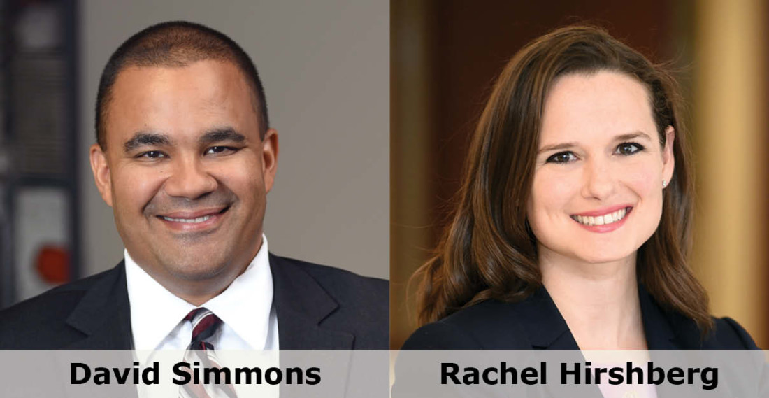 Headshots of Greensfelder attorneys David Simmons and Rachel Hirshberg