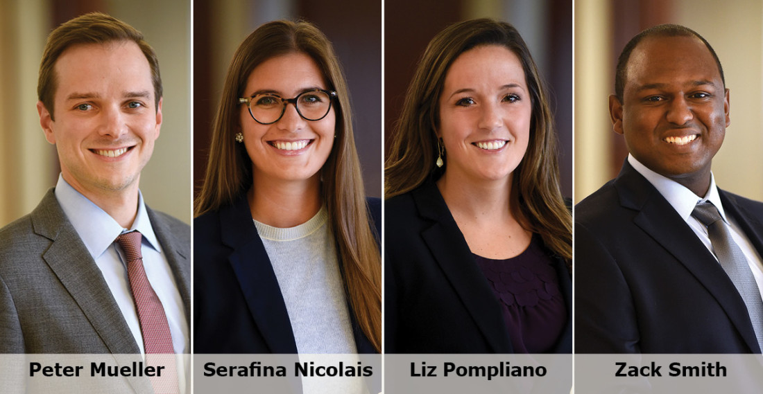 Headshots of new Greensfelder Associates (from left to right): Peter Mueller, Serafina Nicolais, Elizabeth Sinclair Pompliano and Zackary Smith