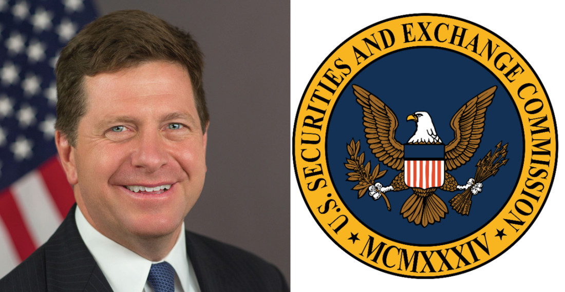 Headshot of SEC Chairman Jay Clayton and seal of the U.S. Securities Exchange Commission