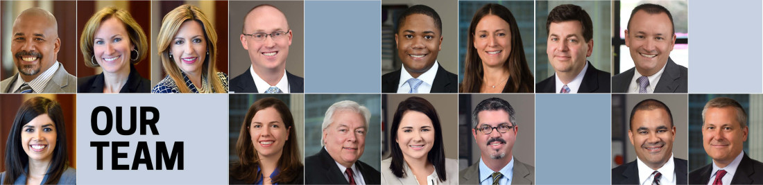 Attorney headshots from Row 1, left to right: Pickett, Ahmad, Conran, Hedger, White, Cenar, Cohn, Ybarra. Attorney headshots from Row 2, left to right: Rodriguez, Austermuehle, Harris, Paillou, Duckels, Simmons, Felton