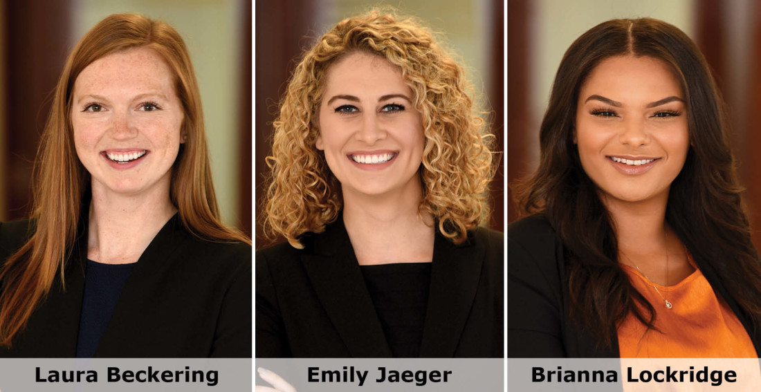 Headshots of Greensfelder associates Laura Beckering, Emily Jaeger and Brianna Lockridge