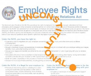 Employee Rights poster with unconstitutional across it.