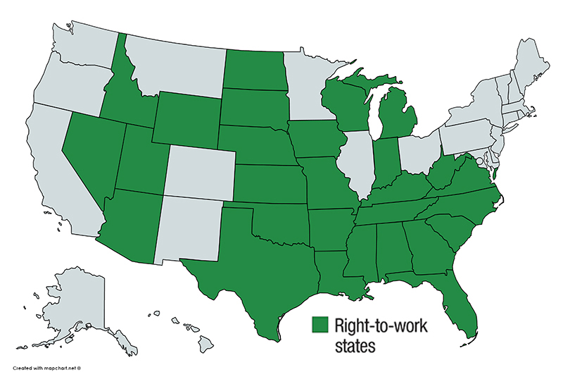 States highlighted in green with right-to-work legislation