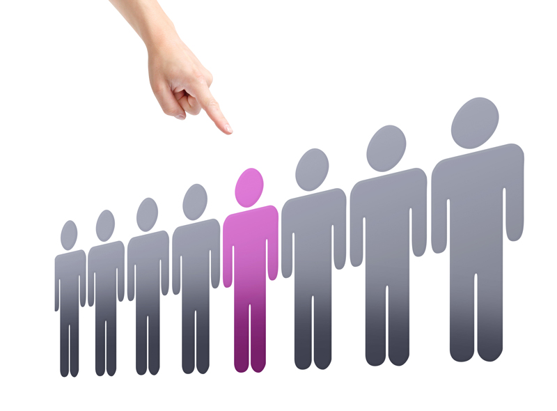 Sexual orientation discrimination representation, choosing one person out of a crowd