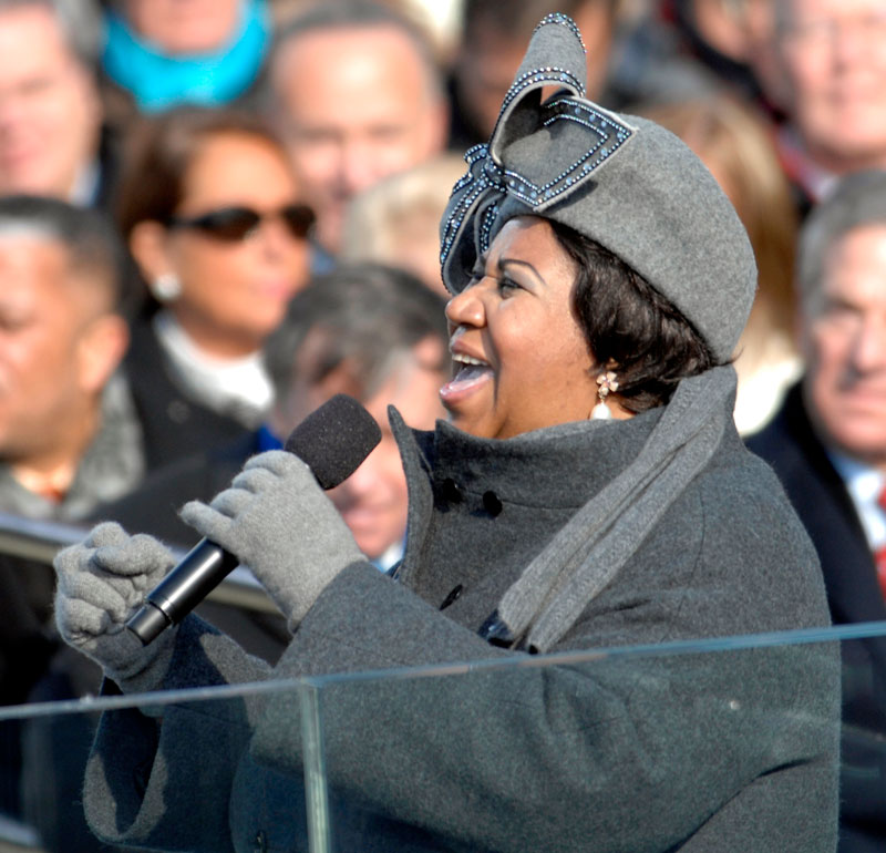 Aretha Franklin singing on January 20, 2009