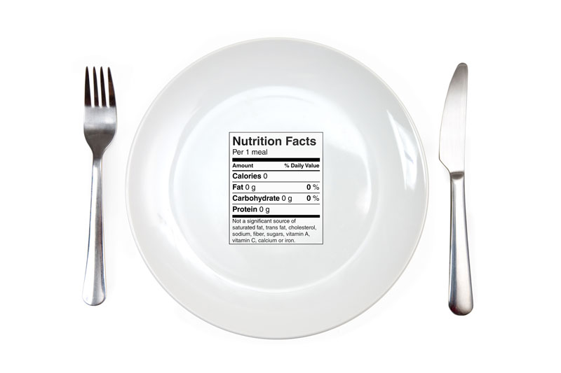 White plate with a fork and knife that has nutrition facts sitting on top of the plate