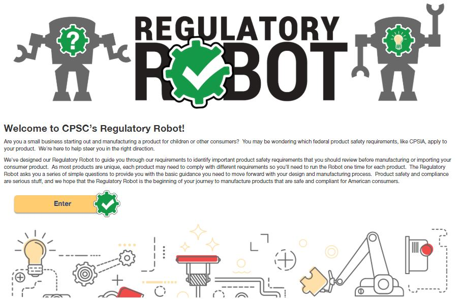 The U.S. Consumer Product Safety Commission's Regulatory Robot online tool screenshot