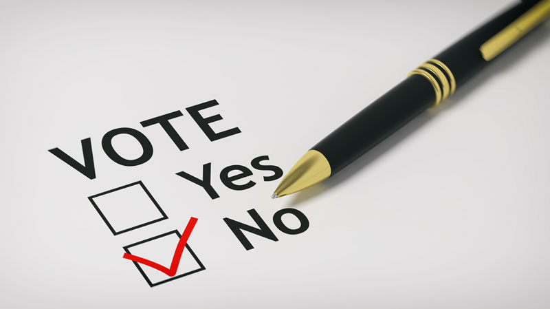 "A piece of paper shows someone chose to vote ""no."""