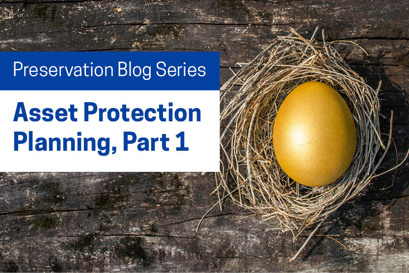 "A golden egg in a nest, with the words ""Asset Protection Planning Series, Part 1"""