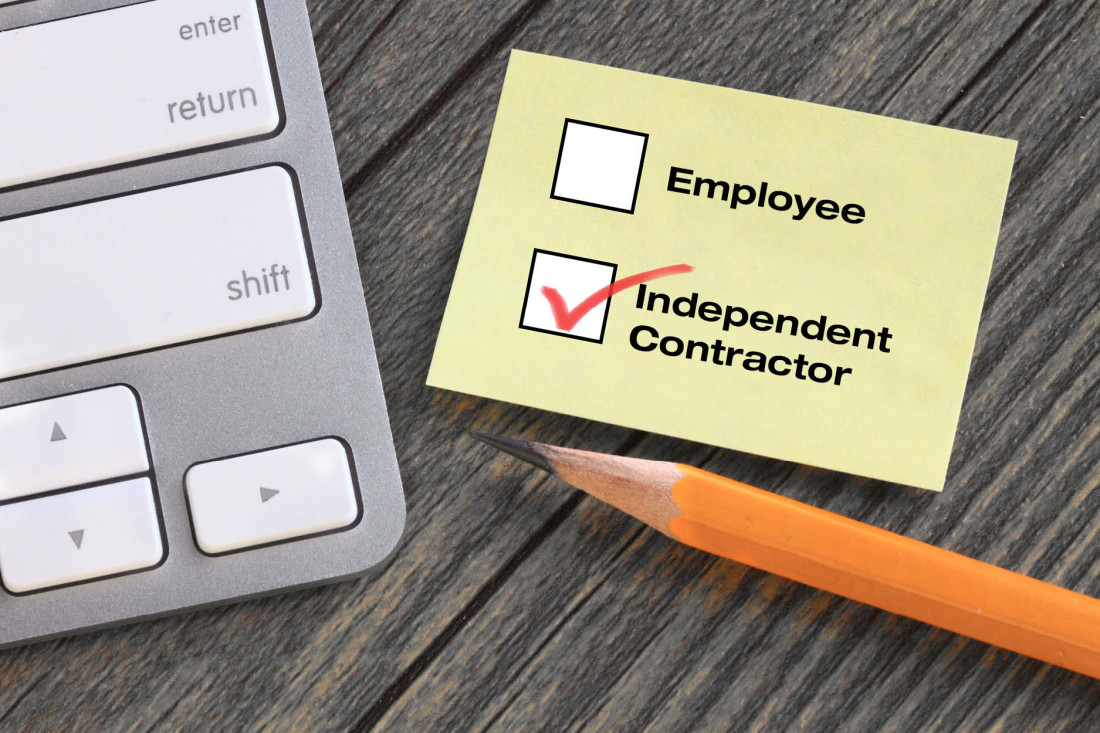 Employee versus independent contractor decision, with independent contractor checked
