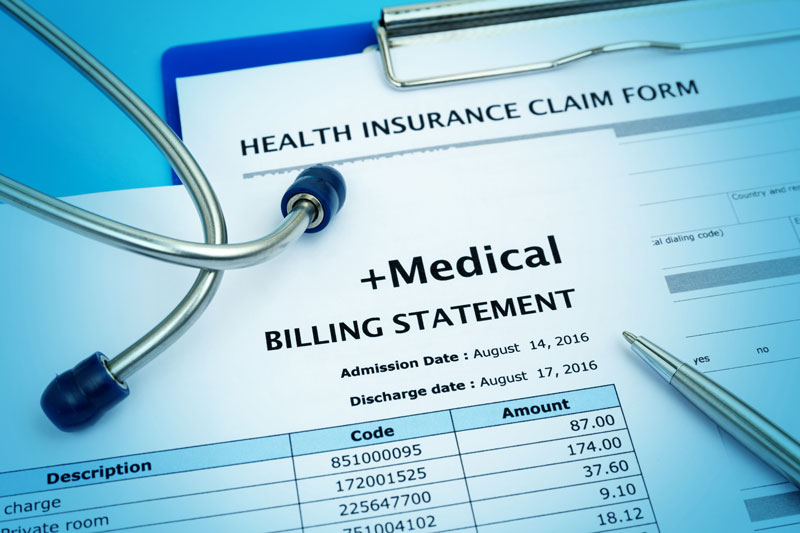 Medical bill and health insurance claim form