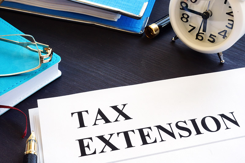 Tax Extension sign on folder