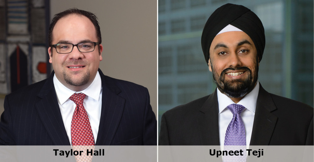 Headshots of attorneys Taylor Hall & Upneet Teji